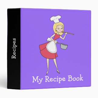 Cool Retro Blonde Girl Chef Art Recipe Binder