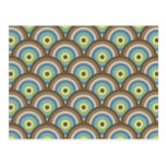 Cool Retro Blue Green Circle Pattern Custom Gifts Postcards