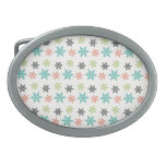 Cool Retro Christmas Holiday Pastel Snowflakes Belt Buckle