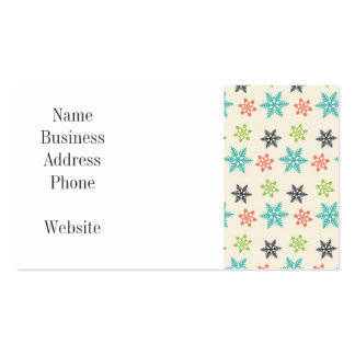 Cool Retro Christmas Holiday Pastel Snowflakes Business Card