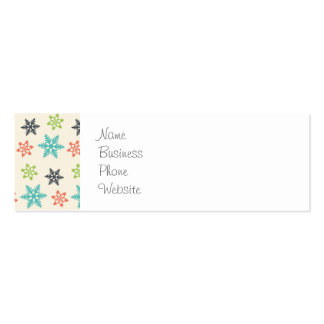 Cool Retro Christmas Holiday Pastel Snowflakes Double-Sided Mini Business Cards (Pack Of 20)