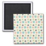 Cool Retro Christmas Holiday Pastel Snowflakes Magnets