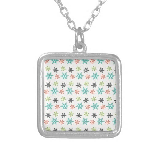 Cool Retro Christmas Holiday Pastel Snowflakes Custom Necklace