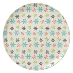 Cool Retro Christmas Holiday Pastel Snowflakes Party Plates