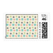 Cool Retro Christmas Holiday Pastel Snowflakes Stamps