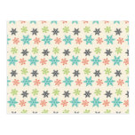 Cool Retro Christmas Holiday Pastel Snowflakes Postcards