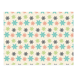 Cool Retro Christmas Holiday Pastel Snowflakes Postcard