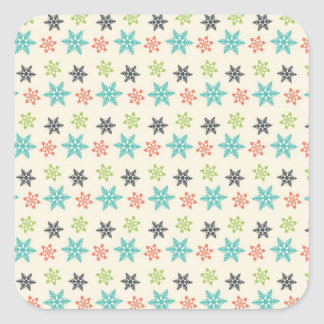 Cool Retro Christmas Holiday Pastel Snowflakes Square Sticker