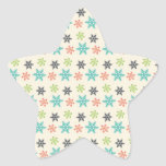 Cool Retro Christmas Holiday Pastel Snowflakes Star Sticker