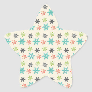 Cool Retro Christmas Holiday Pastel Snowflakes Star Sticker