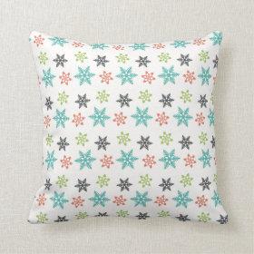 Cool Retro Christmas Holiday Snowflakes Pillow