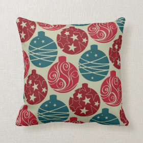Cool Retro Christmas Ornaments Red Blue Gifts Pillows