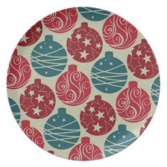 Cool Retro Christmas Ornaments Red Blue Gifts Dinner Plates