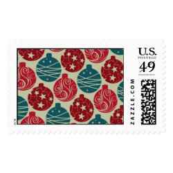 Cool Retro Christmas Ornaments Red Blue Gifts Postage Stamps