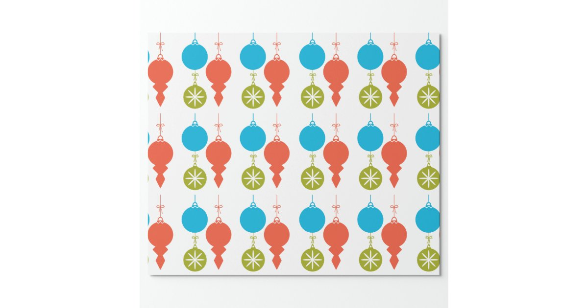 Cool retro christmas ornaments red green blue wrapping for Cool paper ornaments