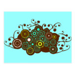 Cool retro circles & swirl brown turquoise card post cards