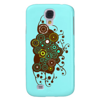 Cool retro circles & swirl brown turquoise iPhone Galaxy S4 Cover