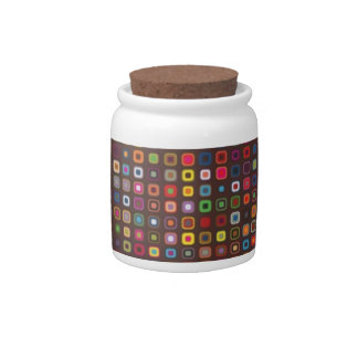 cool retro colourful squares pattern candy jar