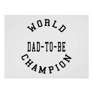 Cool Retro Dads to Be : World Champion Dad to Be Print