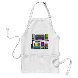 Cool retro electronics jumble in black and yellow adult apron