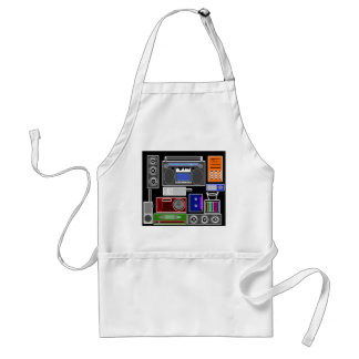 Cool retro electronics jumble in neon adult apron