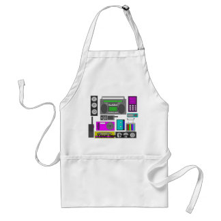 Cool retro electronics jumble in purple and green adult apron