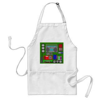 Cool retro electronics jumble on green adult apron
