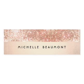 Cool Retro Fashion and Beauty Faux Copper Sequin Double-Sided Mini Business Cards (Pack Of 20)