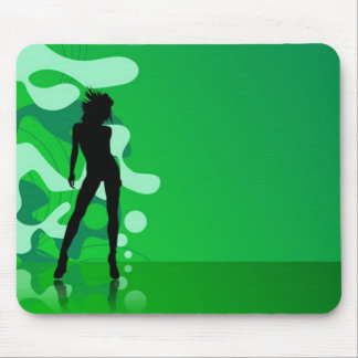 cool retro green dance girl background mouse pad