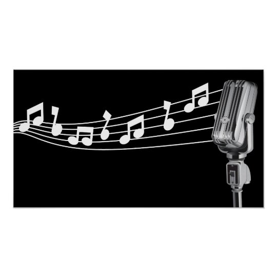 Cool Retro Mic & Musical Notes Black Custom Poster