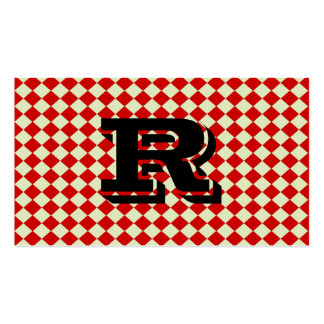 Cool Retro Monogram Red Checkered Pattern Double-Sided Standard Business Cards (Pack Of 100)