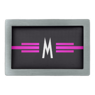 Cool Retro Monogram Vintage Elegant Bride Pink Belt Buckle