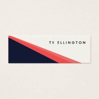 Diagonal business cards templates zazzle cool retro navy and coral diagonal colorblock mini business card reheart Image collections