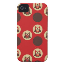 Cool retro owl & circles red and brown owls print iPhone 4 case