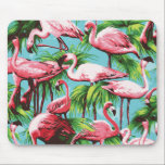 "Cool Retro Pink Flamingoes Mousepad<br><div class=""desc"">Nostalgic and cool design in bright graphic colors featuring pink flamingoes and green palm trees against a deep sky blue background.</div>"