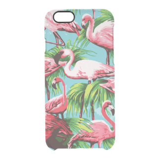 Cool Retro Pink Flamingos Clear iPhone 6/6S Case