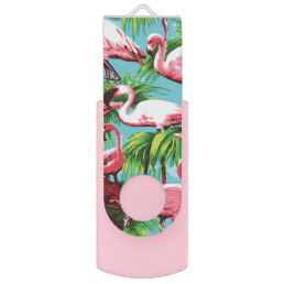 Cool Retro Pink Flamingos Flash Drive