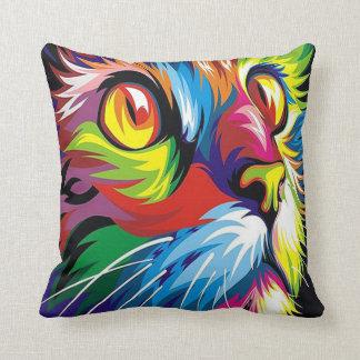 Cool retro pop art cat home office decor pillow