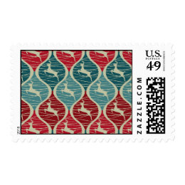 Cool Retro Red and Blue Christmas Reindeer Xmas Postage Stamps