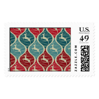 Cool Retro Red and Blue Christmas Reindeer Xmas Postage