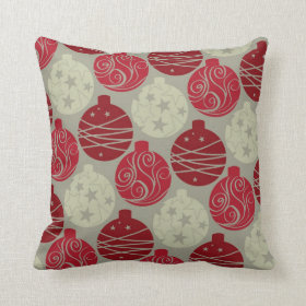 Cool Retro Red Gray Christmas Ornaments Pattern Pillows