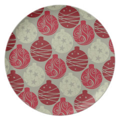 Cool Retro Red Gray Christmas Ornaments Pattern Dinner Plate