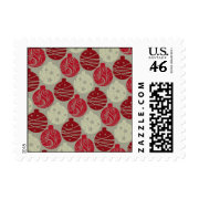 Cool Retro Red Gray Christmas Ornaments Pattern Stamps