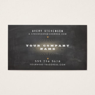 Cool Retro Rustic Black Vintage Typography Business Card