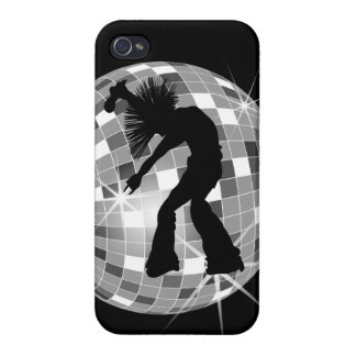 Cool Retro Singer Dancer on Silver Disco Ball Cover For iPhone 4