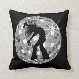 Cool Retro Singer Dancer on Silver Disco Ball Throw Pillow
