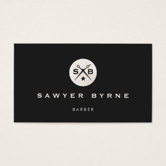 Cool Retro Vintage Barber Monogram Scissors Black Business Card
