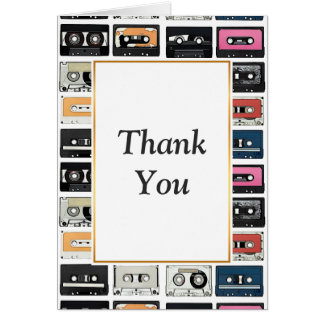 Cool retro vintage cassettes mix tapes pattern card
