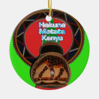 Cool Retro Vintage Hakuna Matata Gifts Kenya Guard Ceramic Ornament