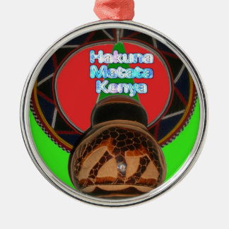 Cool Retro Vintage Hakuna Matata Gifts Kenya Guard Metal Ornament